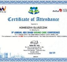 Abu Dhabi, Certyfikat udziału w konferencji leczenia ran