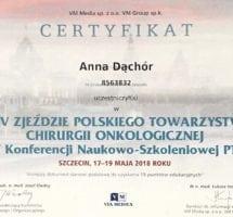Anna Dąchor - XXIV Zjazd Polskiego Towarzystwa Chirurgii Onkologicznej