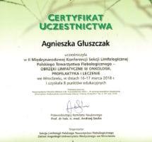 Certyfikat udziału w konferencji limfologicznej