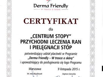 Certyfikat DERMA FRIENDLY - w trosce o skórę
